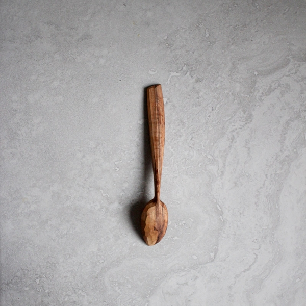 Asymmetric spalted rowan spoon