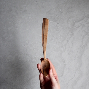 Asymmetric spalted rowan spoon