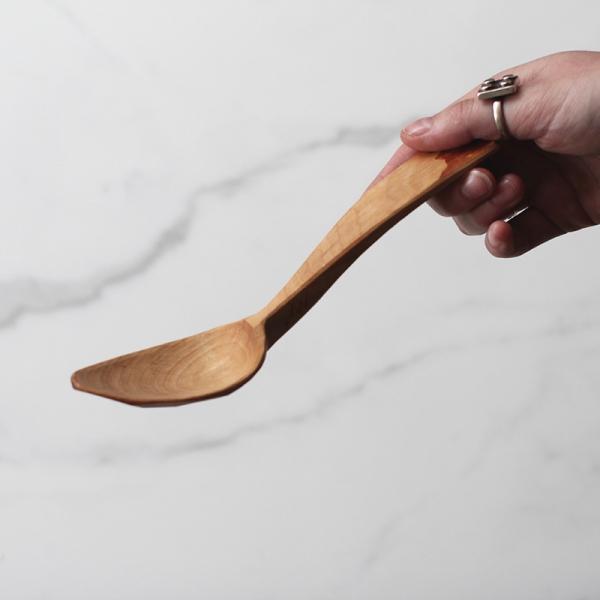 Long curvy birch spoon
