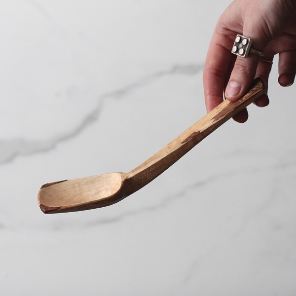 Oxidised bent branch spoon
